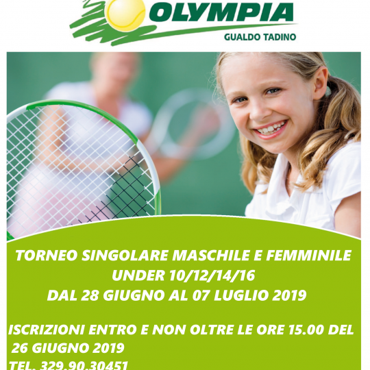 TORNEO GIOVANILE MASCHILE E FEMMINILE UNDER 10/12/14/16